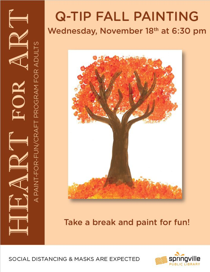 Q-Tip Fall Painting @ Springville Public Library