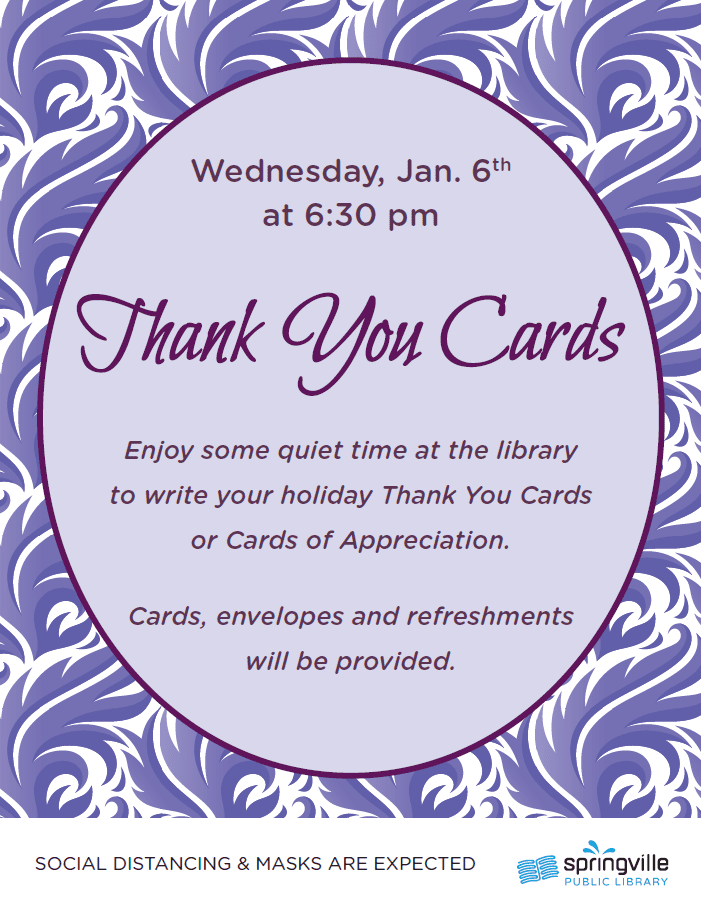 Thank You Cards @ Springville Public Library