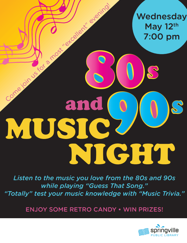 80s & 90s Music Night @ Springville Public Library