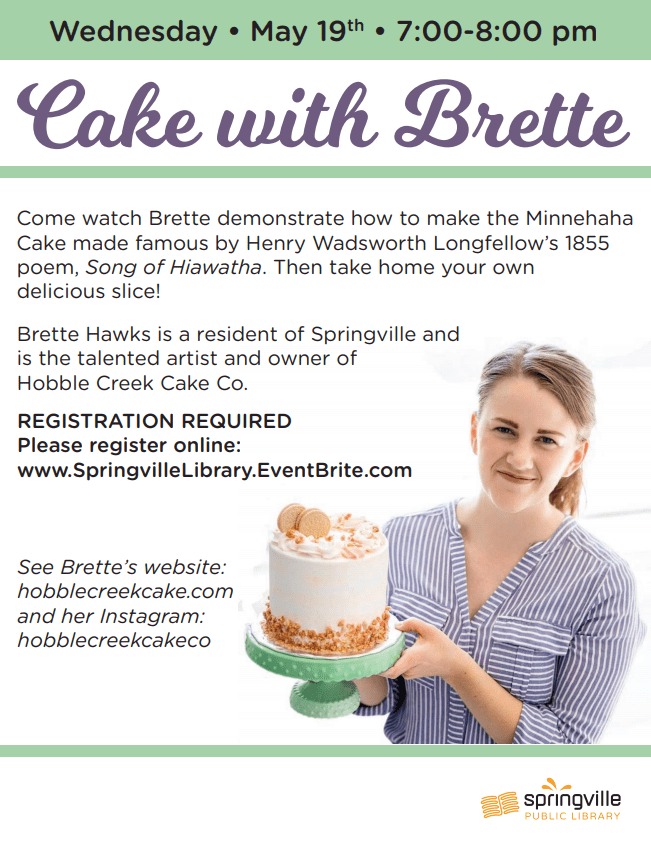 Cake with Brette @ Springville Public Library